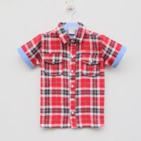 China 2014 new design pure cotton kids clothes gird pattern boys t shirt manufacturer small order wholesale on sale
