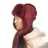 China Winter Ladies Earflaps Real Sheepskin Leather Hat Russian Style Ushanka Trapper Hat on sale