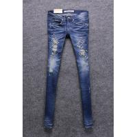 Quality Dark Blue Low Rise Women'S Straight Leg Jeans With Embroidered Rhinestone Diamond for sale