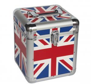 Quality 7'' Union Jack Flag Aluminum Carry Cases For Lp 50pcs, UK Flag Aluminum Cases for sale