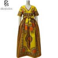 Quality Modern African Print Dresses Dashiki For Elegant V - Neck Classical Print Sleeveless for sale