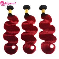 Quality Brazilian 1B/Red Body Wave Ombre Curly Hair Weave 3 Bundles With Dark Roots for sale