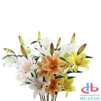 China Single 3 Heads Lily Flowers Waterproof Artificial Flowers For Wedding on sale