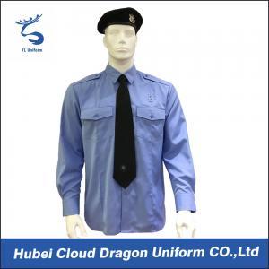China Soft CVC Twill Security Guard Uniform Shirts / Long Sleeve Dress Shirt , OEM / ODM Service on sale
