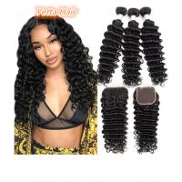 Quality 100% Brazilian Human Hair Extensions Deep Wave Virgin Hair Double Weft for sale