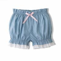 China Yarn Dyed Cute Newborn Baby Clothes Cotton Baby Girl Bloomers With Lace on sale