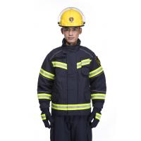 China Fire Resistant Reflective Uniforms Firefighters Turnout Gear Safety Apparel Black Color on sale