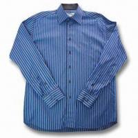 Quality Men's Long Sleeve Casual Shirt in Striped Design, Made of T/C Fabric for sale