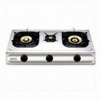Quality Triple Burner Gas Stove with 3.4/0.75/4.3kW Heat Input and Stainless Steel Construction for sale