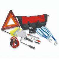 Quality Car Tool Kit, Includes Fiber Bag, Cable Booster, Flashlight, Cotton Gloves, Safety Hammer and Wrench for sale