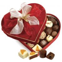 Quality Heart Shaped Red Chocolate Packaging Boxes With Covering Velvet / Butterfly Tie for sale