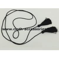 Quality Polyester Skinny Cloth Belts With Fringe Tassel / Black Braided Belt For Women for sale