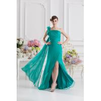 Quality Elegant Green One Shoulder Mermaid Floor Length Chiffon Evening Gown Prom Dress Flower for sale