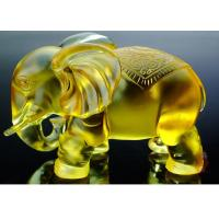 Quality Amber Colored Glaze Indoor Home Decoration Elephants Figurine Statue 135*80*115mm for sale