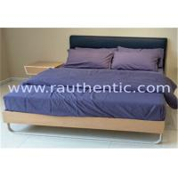 Quality Stable wood frame bed with Upholstered headboard and Wood slat for sale