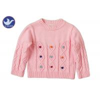Quality Long Sleeves Girls Cable Knit JumperCrew Neck Pullover Style Anti - Pilling for sale