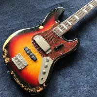 Hot sell 1959 relic Jazz bass basswood body with 4 strings electric bass in sunburst color