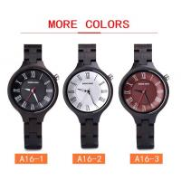 Quality 3ATM Retro Quartz Wooden Watches With Custom Logo Ebony Wood Timepieces for sale