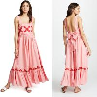 China 2018 Pink Linen Embroidery Women Maxi Dress Summer on sale