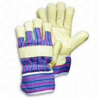 Quality Safety gloves with pig grain leather, working gloves for sale