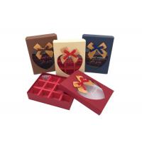 Quality Fancy Small Chocolate Gift Box With Ribbon Bows And Heart Shaped Window for sale