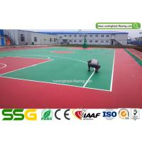 Quality Indoor Basketball Silicon PU Sports Flooring Stable Surfacing Materials Red / Green for sale