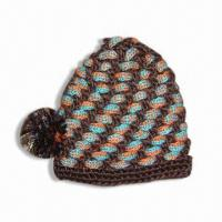 Quality Acrylic Handknit Hat with Pompom at Side and Lurex for sale