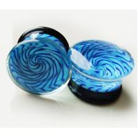 China FPG-GLASS Translucent bright blue Glass Ear Stretcher plug body jewelry on sale