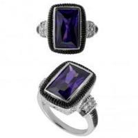 China classic purple gemstone 925 silver engagement and wedding ring sets with big square zircon on sale