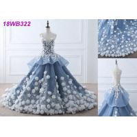 China 3D Flowers Crystal Grey Wedding Gown / Luxury See Through Lace Bridal Gowns on sale