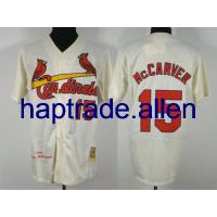 China Free shipping St.Louis Cardinals #15 Tim McCarver Cream man jerseys wholesale baseball jerseys as gift all size 48-56 mix order on sale