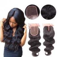 Quality Middle Part Human Hair Lace Closure With Baby Hair 4x4 Natural Color Body Wave for sale