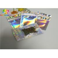 Buy cheap Printed Reusable Plastic Pouches Packaging Clear Silver Hologram Ziplock from wholesalers