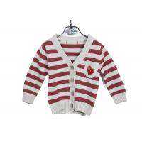 Quality Red Striped Long Sleeve Kids Knit Sweater Button Cardigan With Embroidery for sale
