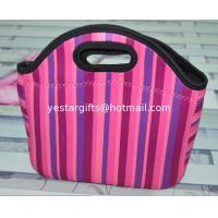 Quality Lightweight Soft Neoprene Shopping Bag Colored With Sublimation Stripe Pattern for sale