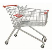 Quality Powder Coating Supermarket Shopping Trolley Cart , 4 Wheel Metal Shopping Carts for sale