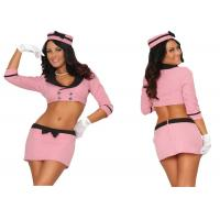 Quality Pink Double Breasted Holiday Party Adult Costumes With Hat Top Skirt Gloves for sale