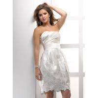 Quality Timeless Strapless Mermaid Dress, Satin Short Wedding Gowns With Flowers for sale