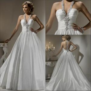 China 2013 Affortable A-line Halter Ivory Beaded Crystal Taffeta Princess Wedding Dresses Store on sale
