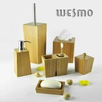 Quality Smooth and Anti Water Geometric Figures Shaped Bamboo Bathroom Sets for sale