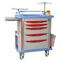 Quality hospital emergency trolley luxurious  abs plastic drawer cart with wheels for sale