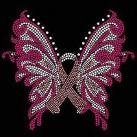 Quality Butterfly and Ribbon Design Korean Rhinestone Transfer Motif, Made of DMC, Rhine Stud and Nail Head for sale