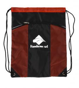 Red Backpack Polyester Drawstring Bag With Pockets , Custom Cinch Sacks