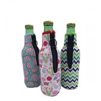 Quality Sublimation Printing Neoprene Single Beer Bottle Cooler with zipper for Promotion Gift size is 19cm*6.3cm, SBR material. for sale