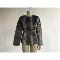 Quality Brown Multi Textured Ladies Fake Fur Coats Collarless With Pu Belt TW74140 for sale