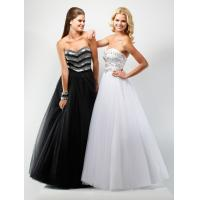 Empire Strapless Organza Party Dresses, Long Beaded Prom Dress