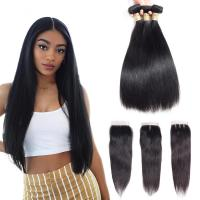 Quality Three Part 4 X 4 Closure 100 Human Hair Extensions / Remy Human Hair Straight for sale