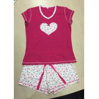 China Soft 100% Cotton Knit Pajamas Sets Heart Printed Ladies Short Pyjama Set Sleepwear on sale