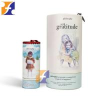 Colorful small paper cosmetic packaging tube box /cylinder cardboard toner bottle tubes with ribbon handle
