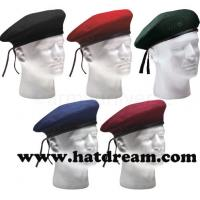 China 100% wool cheap military beret hat adjustable army  beret with embroidery on sale